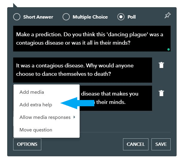 Adding extra help option to questions
