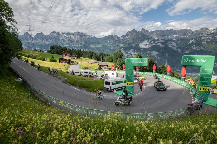 Egan Bernal on his own to the Tour de Suisse finish, showing his impeccable form. Bernal is the favourite for the Tour de France 2019 according to the bookmakers.