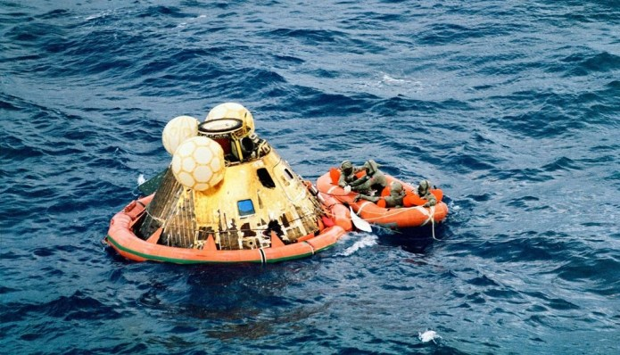 Safely down: the Apollo 11 crew capsule in the Pacific Ocean. Photo: NASA