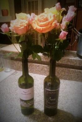 Flowers in Wine Bottles