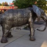An elephant on the sidewalk at Downtown Meridian Art Week