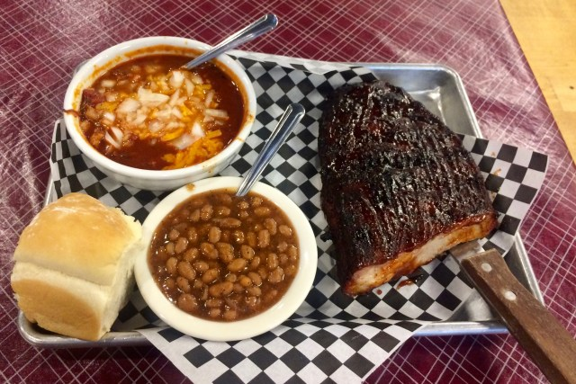 BBQ Rib Plate with bowl of Brisket Chili at Big Daddy's BBQ in Meridian