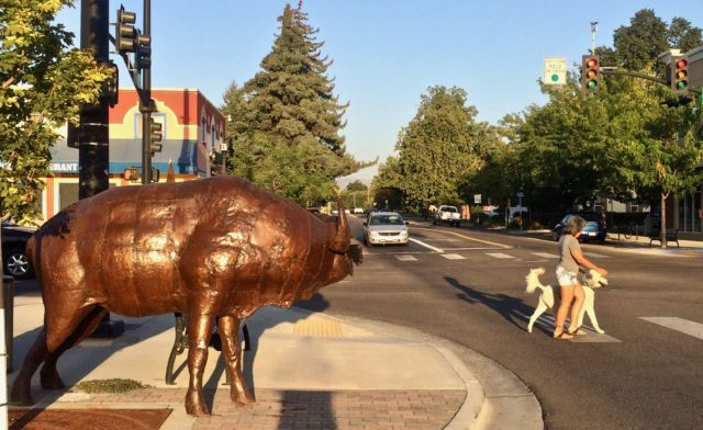 Crossing the street with a wild art animal watching in Downtown Meridian.