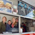 The gang at Spud's BBQ Catering dishing out BBQ