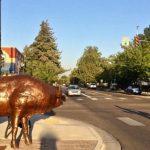 Walking past the animals at Downtown Meridian Art Week