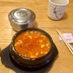 Bubbling pot of Seafood Soft Tofu soup at Mr. Wok