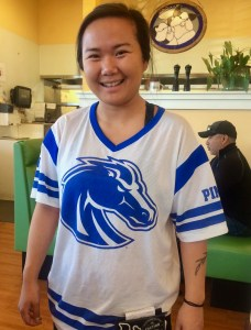 Mikayla in Boise State colors at The Griddle in Eagle