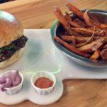 Vegan Burger, Yam Fries and fry sauces