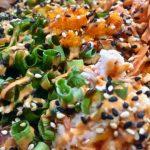 Yellotail and Spicy Tuna Poke closeseup