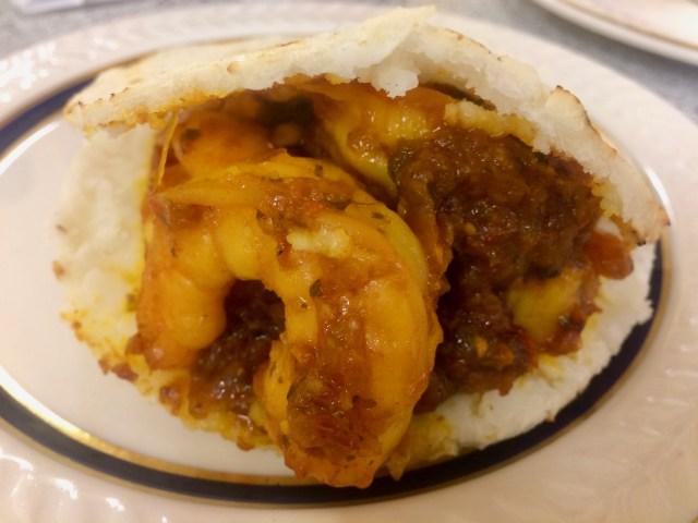 Arepa con camarones at El Cafetal Colombian Restaurant