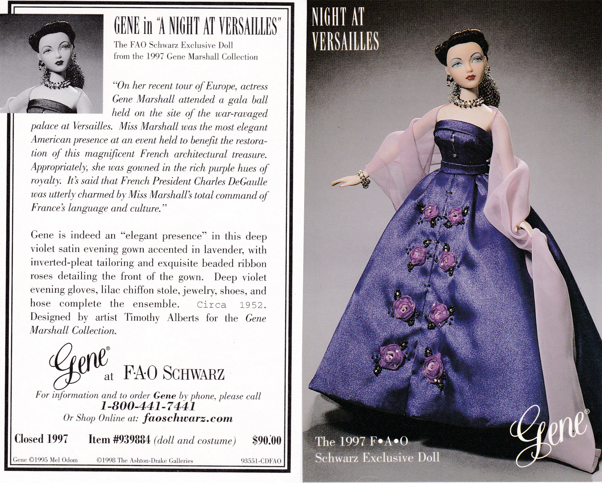 A Grand Evening pattern for Gene Marshal doll by Ashton Drake