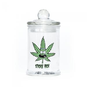 STASH JAR - STICKY RICK 370ML CLEAR GLASS JAR