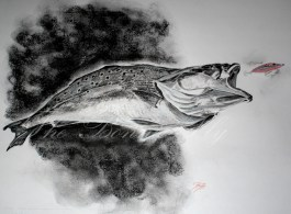 Topwater Trout, Saltwater Series, 11x14 Charcoal
