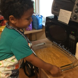 Time to put the pumpkin bars in the oven