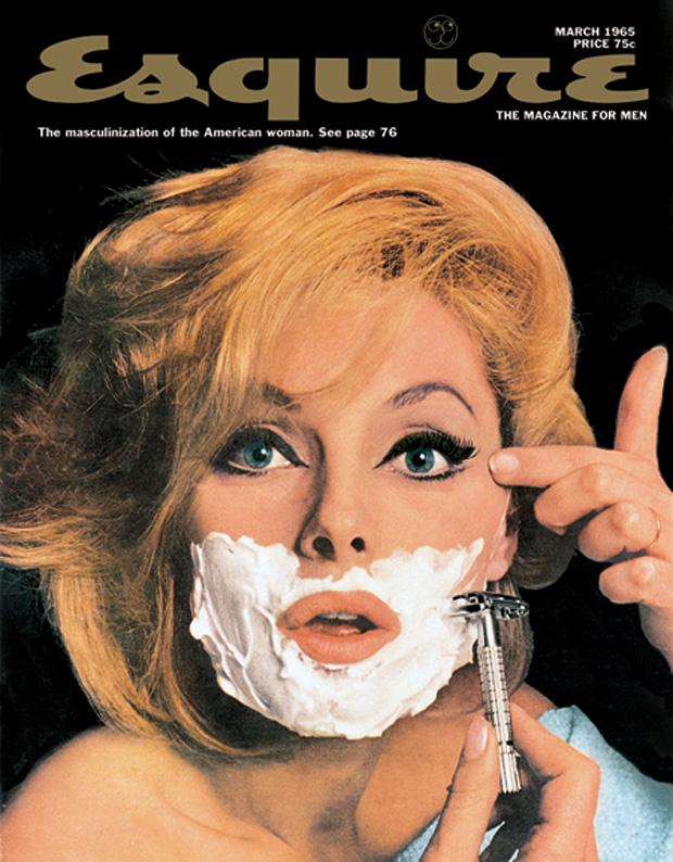 Blond woman shaving