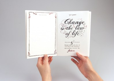 Book containing hand-rendered typography