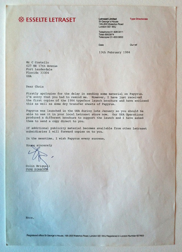 """A letter dated 13th February 1984 from British type designer Colin Brignall, wishing Papyrus """"every success"""". © Chris Costello 