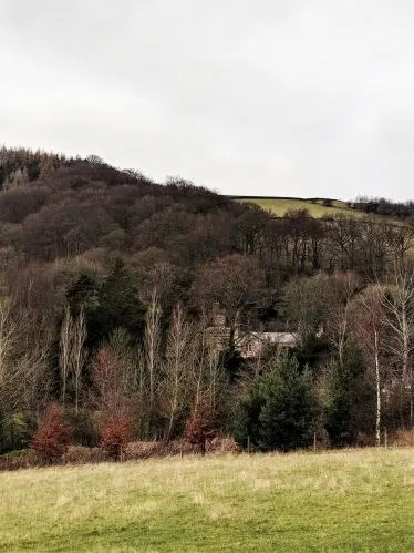 Chimneys of Brookfield Manor through the trees (Vale Hall) Jane Eyre Trail)