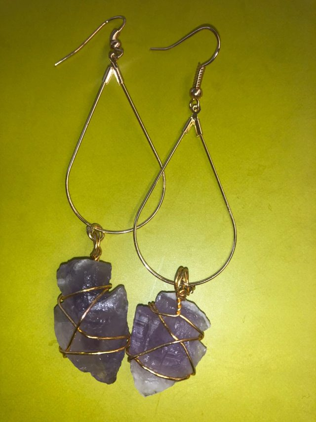 Stoner\\\'s Dream Earrings with Amethyst Crystals