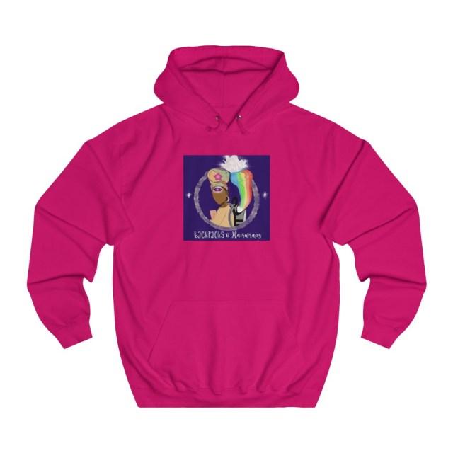 Unisex Hot Pink Backpacks and Hairwraps College Hoodie
