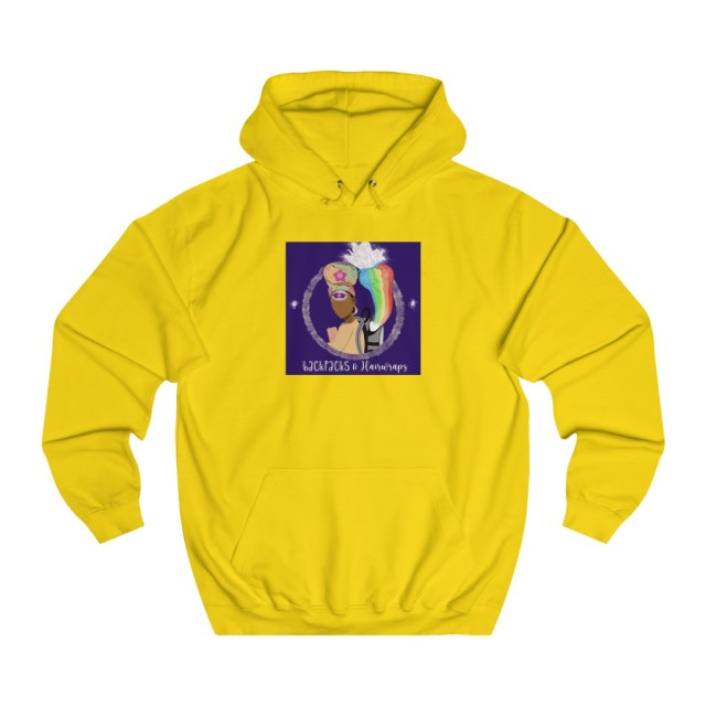 Unisex Yellow Backpacks and Hairwraps College Hoodie