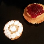 Split Victoria Spong with cream and jam