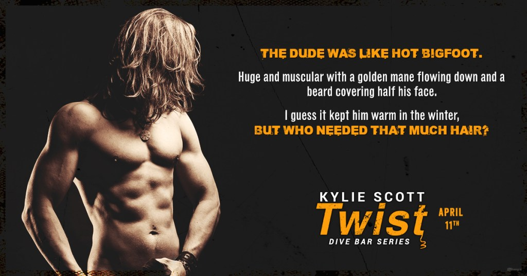 promo image of a topless man with long blonde hair. Promo quote text as follows: The dude was like hot bigfoot. Huge and muscular with a golden mane flowing down and a beard covering half his face. I guess it kept him warm in the winter, but who needed that much hair?