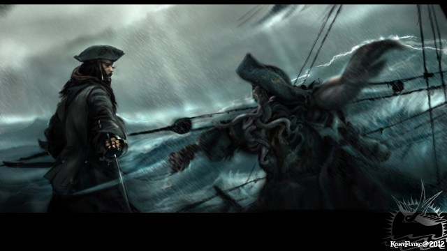 Jack Sparrow fighting Davy Jones by KomyFlyinc@ by KomyFly