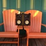 boomcase vintage on bench orange