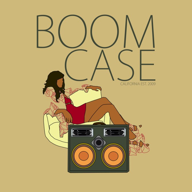 boomcase illustration sexy girl red skirt dress bra legs vintage retro suitcase army trunk