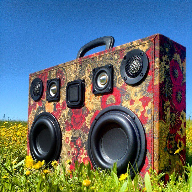 the gaslamp killer custom boomcase flowers power red vintage suitcase boombox