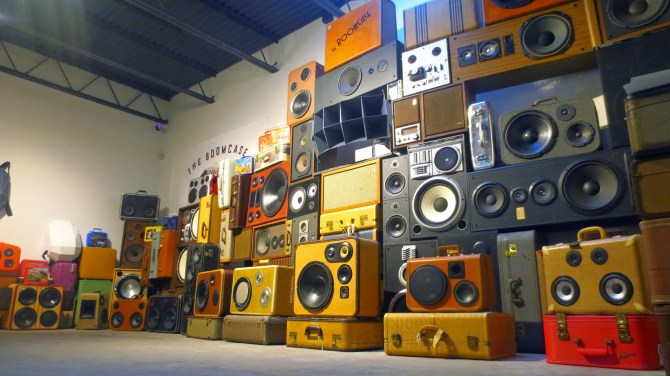 Sound Wall WallOfBoom Tower Of Boom Holiday BoomCase Pop Up Shop Popup Store Valencia Mission San Francisco SF Dijital Fix Cool Store Amazing BoomBox Custom Dijital Fix San Francisco California SF The Mission Electronics Goodies
