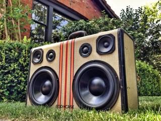 wood boombox boomcase tweed stripe suitcase vintage sound system speakers dj special