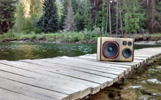 River Water Camping Canada BoomCase Victoria Forest Jungle Wood Music Anywhere Best Bluetooth speaker Loud PA System Jordan Case Red Rare Explore Water