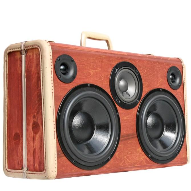 BoomCase Wood BoomBox Speaker Vintage Portable Retro Ghetto Blaster Bluetooth Wooden