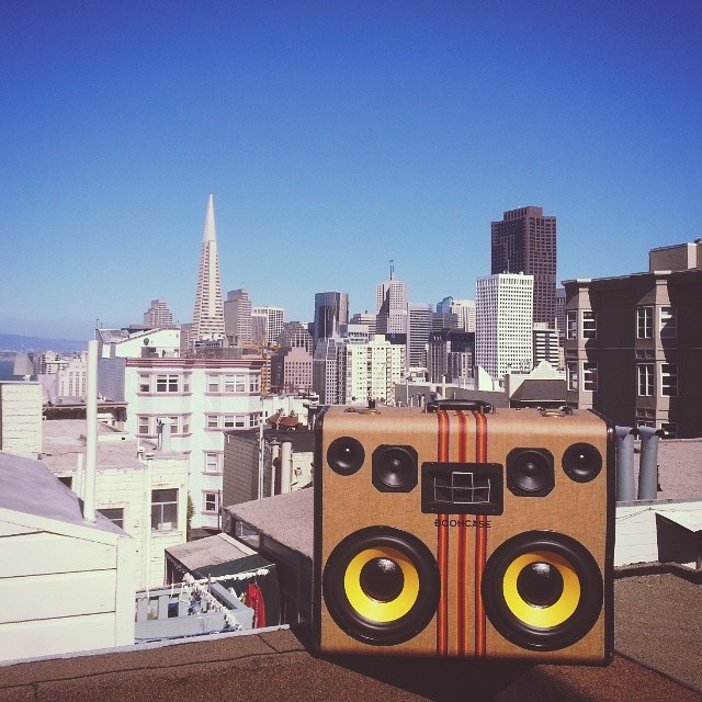 Rooftop party SF San Francisco California Striped BoomCase Hartmann vintage BoomBox Portable Speaker Tweed Stripes Yellow Bluetooth Wooden