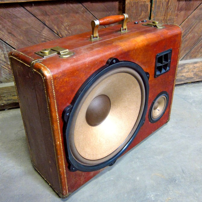"""Wooden BoomBox Leather 15"""" Woofer Speaker System California Bluetooth Portable Speaker BoomCase BoomBox"""