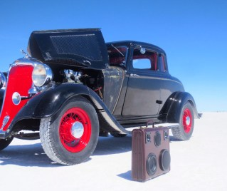 bonneville speedway salt flats hot rod BoomCase BoomBox Suitcase Speaker Ford Blue Speed Week