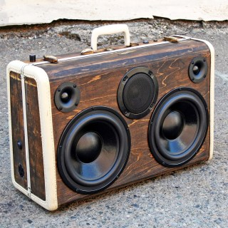 wooden Vintage Steamer Trunk BoomBox Stereo Portable BoomCase Bluetooth Leather Wood