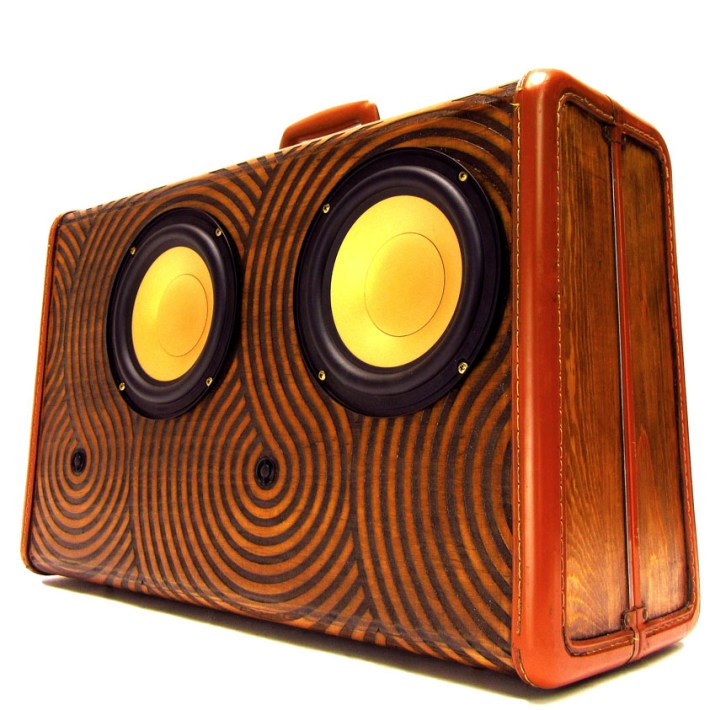 Laser Etched BoomCase BoomBox Wooden Wood Gold Woofers Bluetooth Best BoomBox Jake Castro