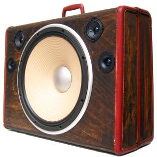 "Cyclops BoomCase 15"" Woofer Speaker BoomBox Vintage Wooden Suitcase"