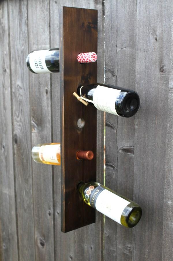 Make Rustic Vertical Wine Rack - Borrowed