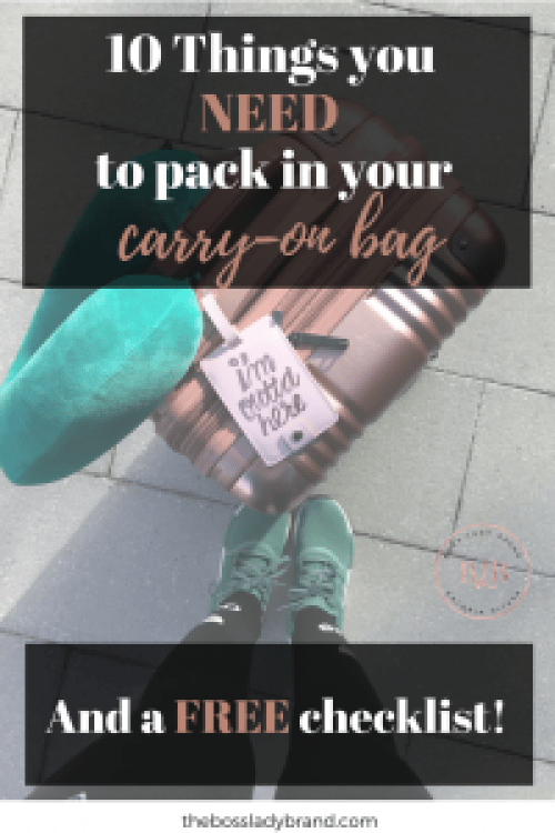 This is the ultimate vacation packing list. These are the 10 things you need to have in your Carry-on Bag. If you have these items, you will be prepared for whatever comes up at the airport or on your travel journey! #travelchecklist #freebie #vacation #summer