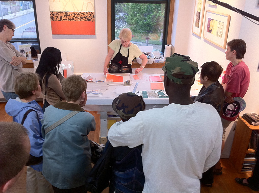 Mixed Media Demonstration with Bonnie Mimeo, image credit: Kippy Goldfarb