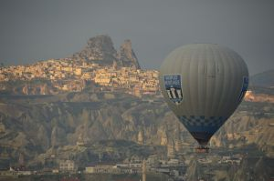 Balloon with Uchisar in the background