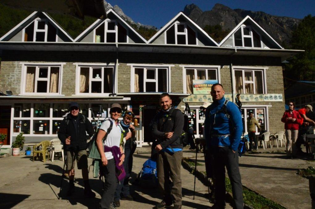 trekkers ready to set off from the Sunrise lodge for the everest base camp trek