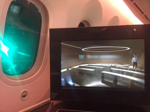 entertainment screen and window on qatar a380 business class