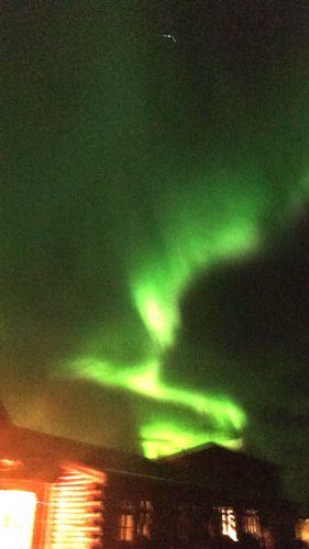 northern lights outside hotel ranga iceland must see