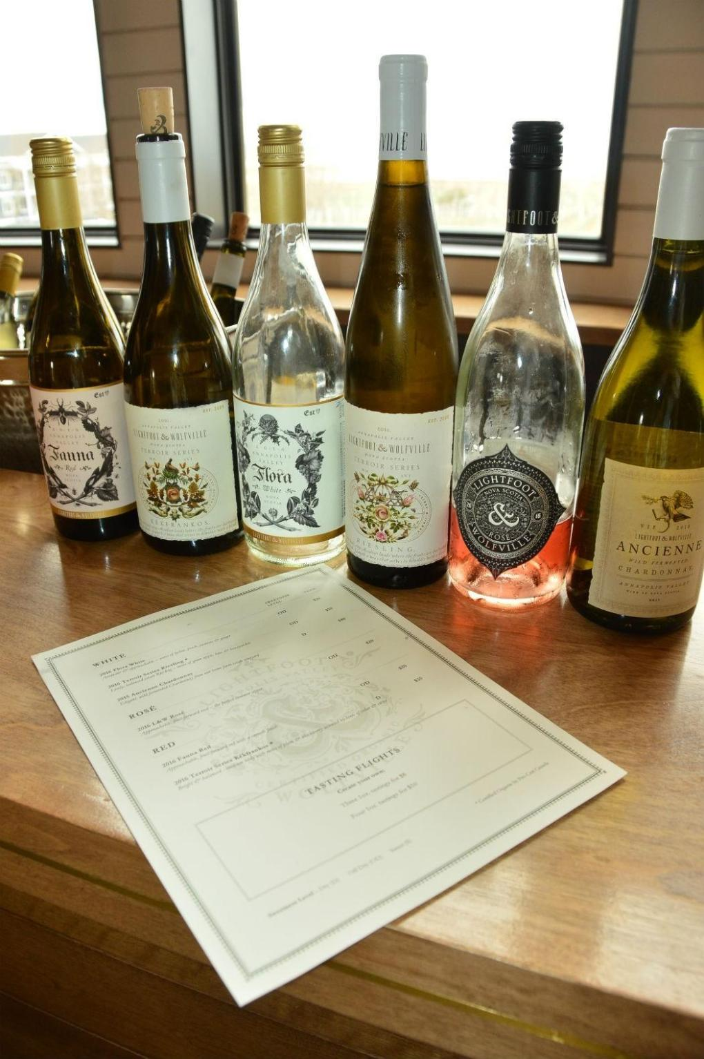 6 lightfoot and wolfville wine bottles and price list