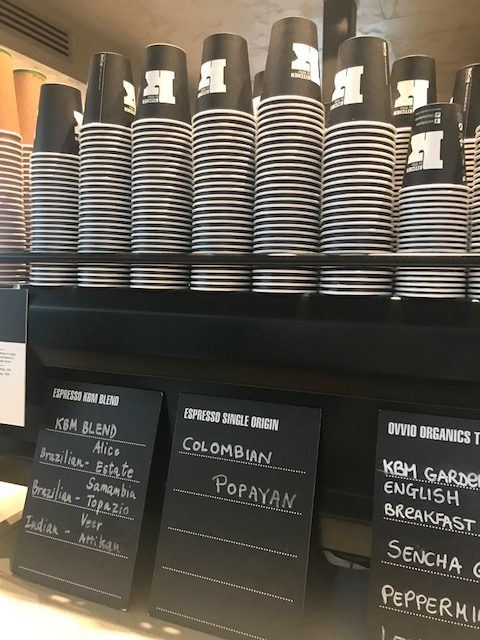 Coffee machine with cups on top at sydney airport